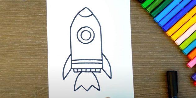 Как нарисовать ракету: изобразите огонь