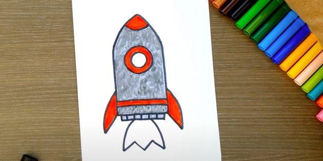 Закрасьте корпус ракеты