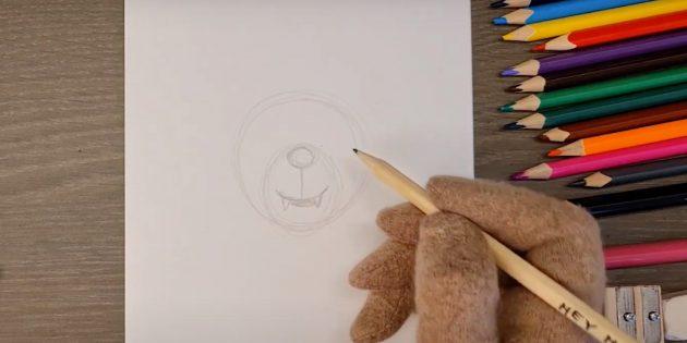 Как нарисовать волка: Нарисуйте рот и клыки