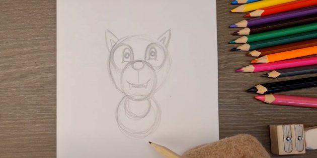 Нарисуйте уши и тело