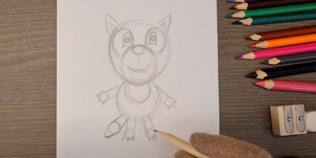 Как нарисовать волка: Нарисуйте лапы и хвост