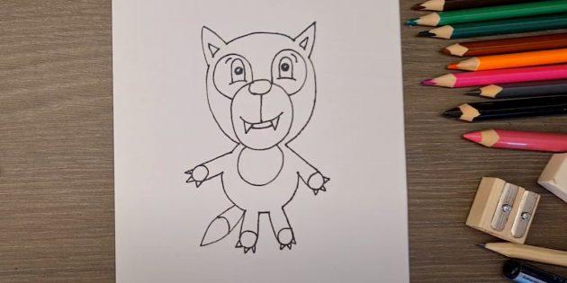 Как нарисовать волка: Обведите рисунок