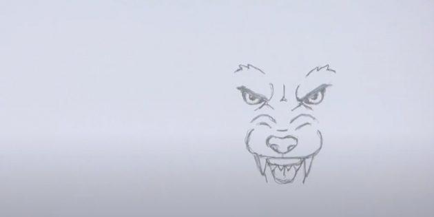 Как нарисовать волка: Нарисуйте вернюю челюсть