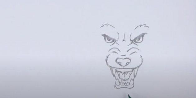 Как нарисовать волка: Нарисуйте нижнюю челюсть