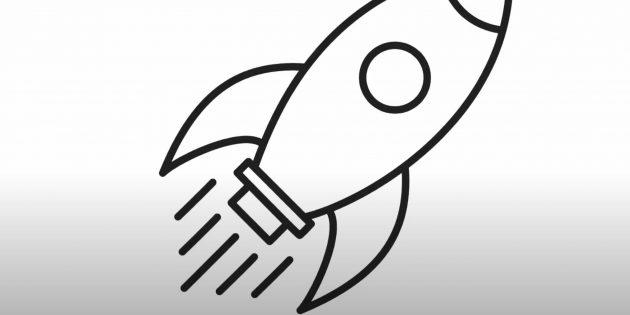 Как нарисовать ракету: изобразите иллюминатор
