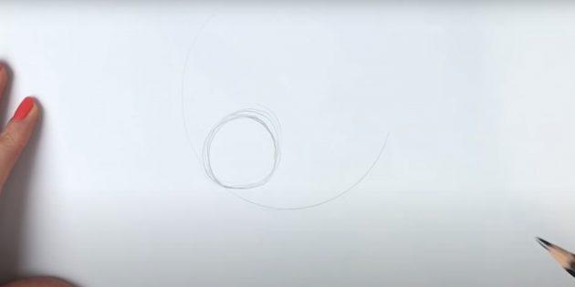 Как нарисовать волка: Наметьте дугу и круг