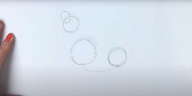 Как нарисовать волка: Наметьте голову и заднюю часть корпуса