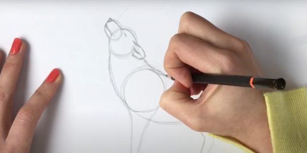 Как нарисовать волка: Детализируйте голову и шею