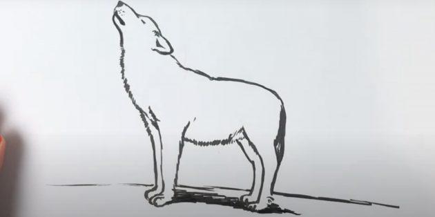 Как нарисовать волка: Добавьте тень
