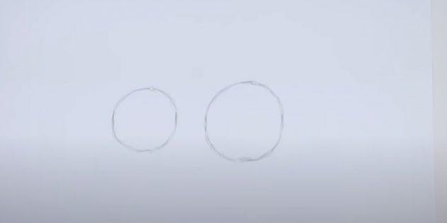 Как нарисовать волка: Наметьте два круга