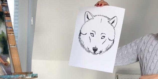 Реалистичная морда волка