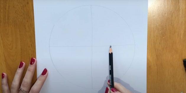 Как нарисовать волка: Сделайте круг с линиями внутри