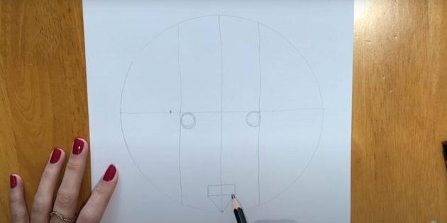 Как нарисовать волка: Наметьте глаза и нос