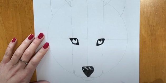 Как нарисовать волка: Закрасьте нос и детализируйте глаза