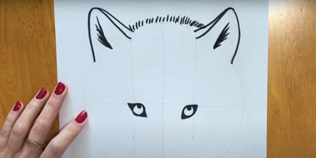 Как нарисовать волка: Прорисуйте уши