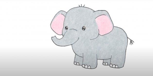 Как нарисовать стоящего мультяшного слона: готовый рисунок