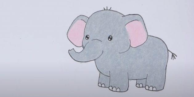 Как нарисовать стоящего мультяшного слона: закрасьте животное