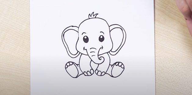 Как нарисовать сидящего мультяшного слона: готовый рисунок