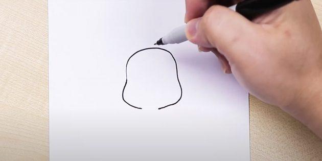 Как нарисовать сидящего мультяшного слона: нарисуйте голову