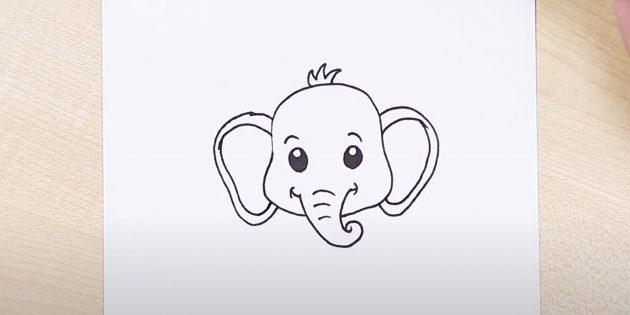 Как нарисовать сидящего мультяшного слона: обозначьте уши и хохолок