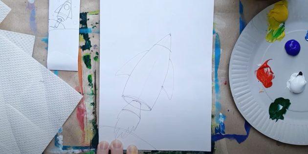Как нарисовать ракету: изобразите корпус и крылья