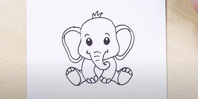Как нарисовать сидящего мультяшного слона: добавьте задние ноги