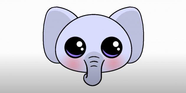 Как нарисовать голову мультяшного слона: готовый рисунок