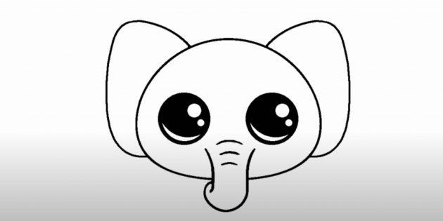 Как нарисовать голову мультяшного слона: изобразите уши и глаза