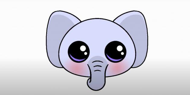 Как нарисовать голову мультяшного слона: раскрашенный рисунок