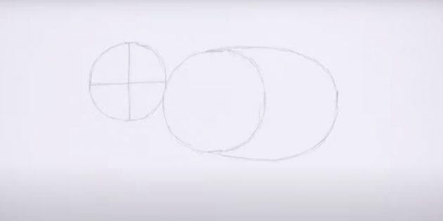 Как нарисовать реалистичного стоящего слона: наметьте тело и голову
