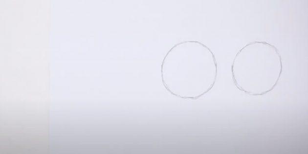 Как нарисовать лошадь: Наметьте два круга
