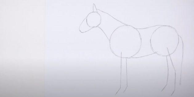 Как нарисовать лошадь: Наметьте шею, живот и спину