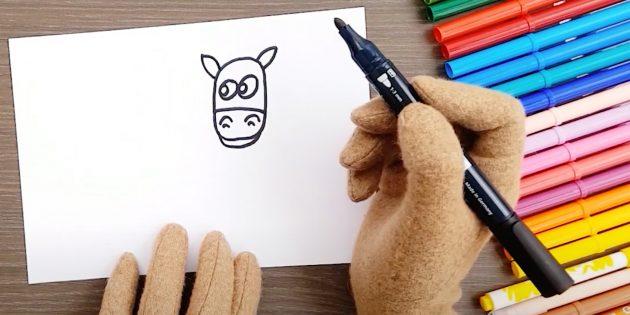 Как нарисовать лошадь: Нарисуйте глаза и уши