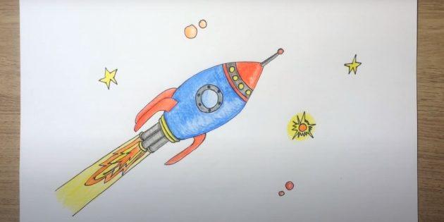 Рисунок ракеты цветными карандашами