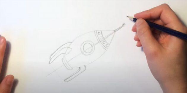 Как нарисовать ракету: добавьте крылья и шпиль