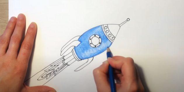 Обведите рисунок и закрасьте корпус ракеты