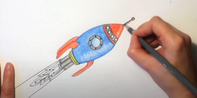 Как нарисовать ракету: добавьте красный, серый и жёлтый цвета