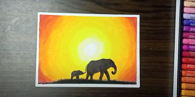Как нарисовать силуэты слонов: готовая работа