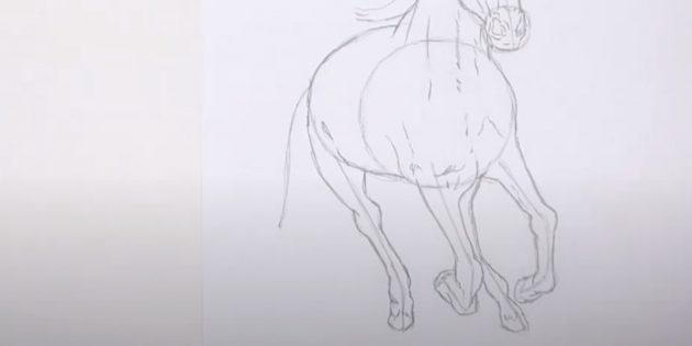 Как нарисовать лошадь: Прорисуйте задние лапы