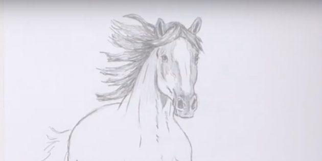 Как нарисовать лошадь: Закрасьте гриву и голову