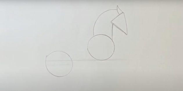 Как нарисовать лошадь: Наметьте голову и шею