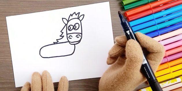 Как нарисовать лошадь: Нарисуйте тело и гриву
