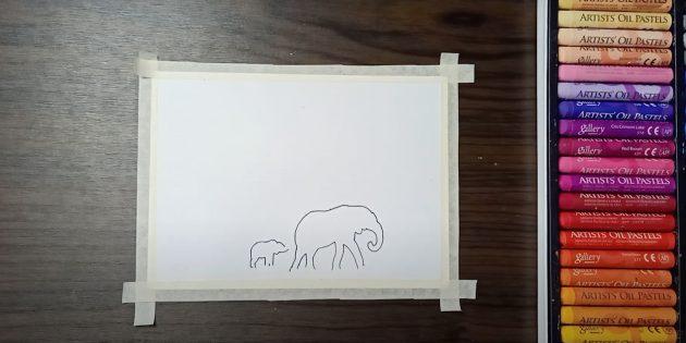 Обведите контуры слонов
