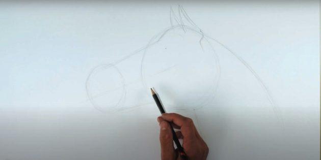 Как нарисовать лошадь: Наметьте шею и уши