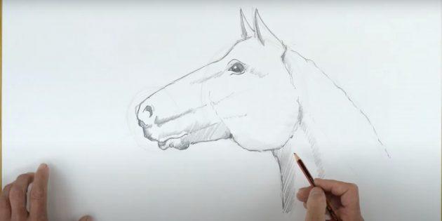 Как нарисовать лошадь: Добавьте штриховку над глазом
