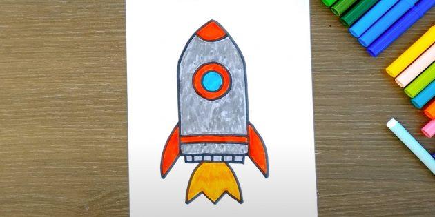 Рисунок ракеты фломастерами