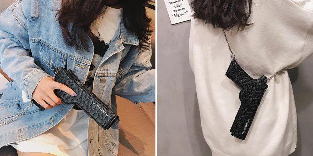 Необычная сумка в форме пистолета