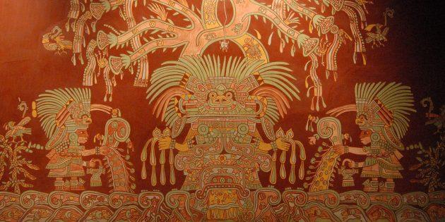 Культура майя, ацтеков, инков: репродукция фрески богини Теотиуакана в Национальном музее антропологии Мехико