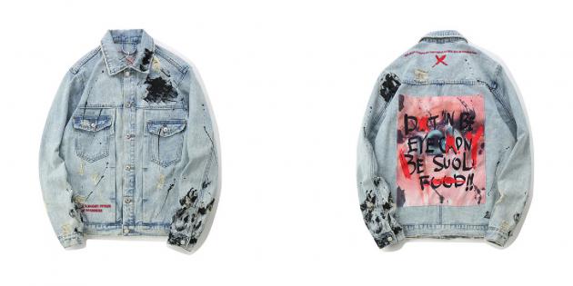 Джинсовая куртка с пятнами краски