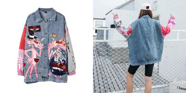 Джинсовая куртка с мультяшным дизайном
